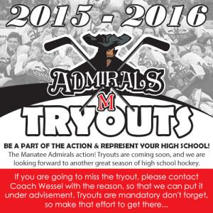 Mandatory Admirals Tryouts 2015/2016